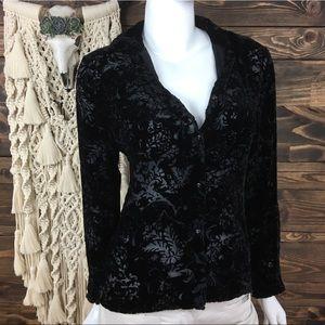 L Ralph Lauren | Velvet Pattern Sheer Button Down